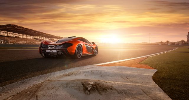 McLaren P1 sunset rear